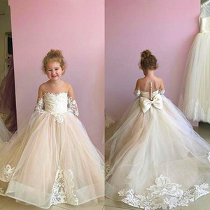 2021 Hot sale Cheap Blush Pink Flower Girls Dresses Long Sleeves For Weddings Lace Appliques Ball Gown Birthday Girl Communion Pageant Gowns