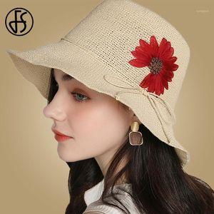 Sombreros de paja FS para las mujeres Ancho Sun Sun Sombreros Ribbon Bow Beach Hat Summer Female Femenina Redonda Top Flopy Plegable1