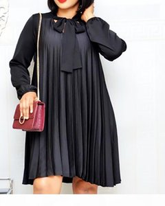 Plus Size Pleated Dresses with Bowtie Long Lantern Sleeves Knee Length Women Fashion Summer Autumn Female African Vestidos New MX200804