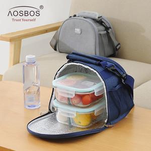 Aosbos أكسفورد المحمولة برودة حقيبة الغداء الصلبة الحرارية معزول أكياس الغذاء الغذاء غداء الغداء مربع حقيبة للرجال النساء الاطفال 201015