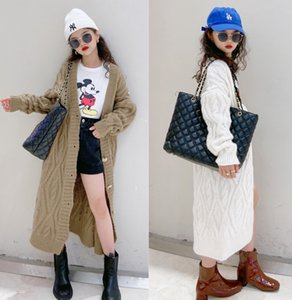 Fashion New Kids Long Cardigan Girls Twist Knitted Casual outwear lady style children single-breasted long sleeve sweater cardigan A4763