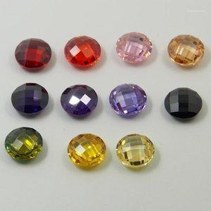 Verificador duplo redondo cortar contas soltas orifício de perfuração Multicolor Cubic Zirconia Gemstone Zircon pedra para DIY Necklace1
