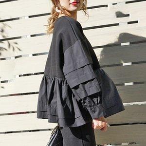 Spring Long Sleeve Women Hoodie Korean Black Ruffles Patchwork Loose Pullover Tops Harajuku Oversized Sweatshirt Streetwear 201007
