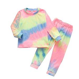 Les filles Tie Dye Tenues enfants manches longues Hauts O-cou-shirts Vêtements de bébé tout-petits Gradient Pantalons Ensembles d'enfants Vêtements de loisirs Costumes 061024