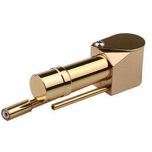 86mm Brass Proto Pipe Deluxe Gold Metal Pipe Mini Handheld Dabber Burner Hand Oil Smoking Rig DHL