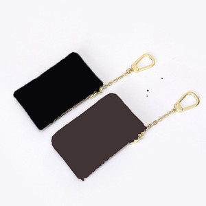 Fashion Womens Mens Key Ring Credit Card Holder Coin Purse Luxury Mini Wallet Bag Charm Brown Canvas