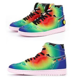 탑 판매 J Balvin 1S High Og Mens 농구 신발 jumpman 1 colores y vibras 넥타이 염료 멀티 컬러 무지개 망 트레이너 스포츠 스니커즈