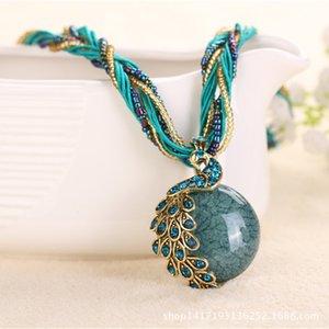 Tomtosh 2020 Нового Peacock украшение грубого ожерелье коротких ключицы цепь женщина драгоценный камень кулон ожерелье стиль лето ювелирных изделия