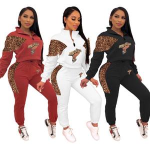 Manga del leopardo del remiendo de las mujeres de moda chándales largo atractivo de la solapa del cuello sudaderas y pantalones del lápiz conjuntos de piezas Otoño Invierno Mujeres Dos