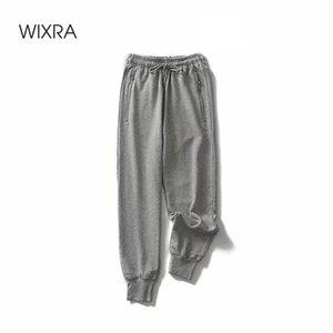 Wixra Long Leisure Bottons Women's Bottoms Lace-Up Solid Jogger Pencil Pants Sweatpants Sportswear 201007