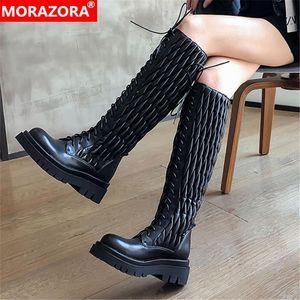 MORAZORA 2020 bottes en cuir véritable talons bout carré dames ronde chaussures mode genou classique hiver bottes noir