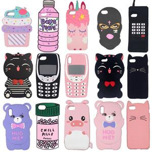 caso de la cubierta del teléfono de silicona suave de moda Gato de dibujos animados del cerdo 3D para el iPhone helado 11 MAX Pro SE2020 6 7 8 6s Plus 12 X Pro XR XS Max