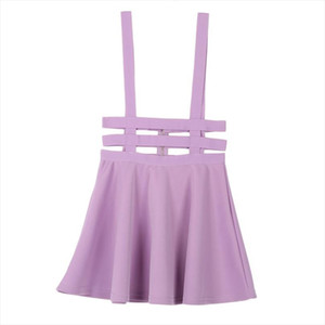 Women Suspender Skirt Mini Ruffles Skater Pleated Short Braces Skirt Back Zipper Hollow Out Faldas Jupe Straps