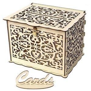 Большой деревенский конверт подарочные карточки коробки блокировки слота свадьба, партия цветочная деревянная подарочная коробка как Picture1