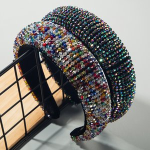 Gorgeous Baroque Colorful Crystal Headband for Woman Elegant Hand Made Beaded Hairband Bridal Wedding Hair Accessories Headpiece 201021