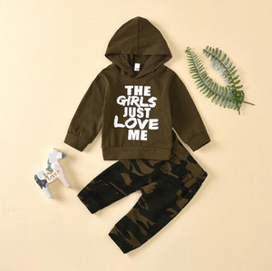Baby Boy Clothes Set Toddler Boys Sleeve Suit Letter Hooded Tops Camouflage Trousers Children Boy Tracksuit Kids Outfits Bodysuits FWC3628