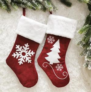Presentes Red Elk Chrismas Stocking Árvores de Natal Decoração Pendente de doces saco de pano de linho longas Meias Chrismas Meias Armazenamento Bolsas CZ101201