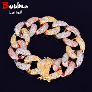 22MM Colorful Baguette Zircon Bracelet Miami Iced-Out Cuban Chain Heavy Material Copper Fashion Hip Hop Rock Street Charms Jewelry