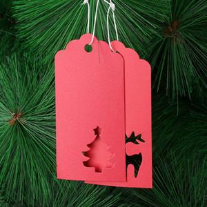 Natale carta kraft Tag fai da te Crafts Albero di Natale Elk Hanging Tag New Xmas Year Party Gifts Wrapping Etichette GGB2356