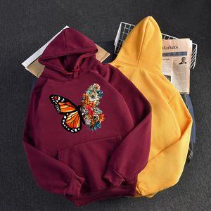 2021 New Women Hoodies Autumn Warm Hooded Pullovers Cartoon Butterfly Printed Pocket Sweatshirts Female Winter Cold Clothing Xs-2xl Mav8