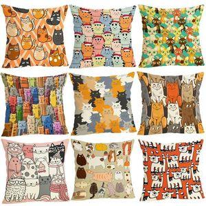 Мультфильм Cat Pattern Хлопковое белье бросить подушку подушки подушки крышки сиденья автомобиль дома диван-кровать декоративная наволочка фундамент Cojin1