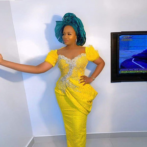 Aso Ebi African Mermaid Evening Dresses Yellow Short Sleeves Beaded Ruched Prom Gowns Plys Size Saudi Arabia Robe Formal Wear