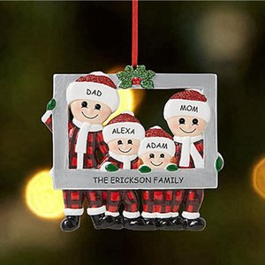 2020 Christmas Love Family Pendant Photo Frame DIY Name Benediction Ornament Xmas Tree Hanging Pendants Party Decoration LJJP666