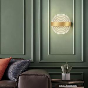 Moderno LED Quarto Bedside Wall Light Simplicidade Criativa Sala de Estar Escadas Corredor Corredor Golden Acrylic Wall Lamp Decor