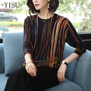 Yisu Mulheres 2019 Quente Moda Primavera Outono capuz da camisola da listra Impresso malha feminina blusas