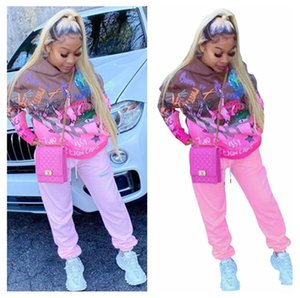 Las mujeres de manga larga chándal de dibujos animados sweatsuits invierno Sudaderas Pantalones conjuntos de dos piezas casual con capucha Tops F101905 Calle Matching Sport traje