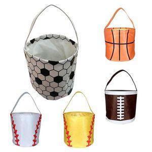Basketball Easter Basket Sport Canvas Totes Football Baseball Soccer Softball Buckets Storage Bag Kids Candy Handbag LLA130