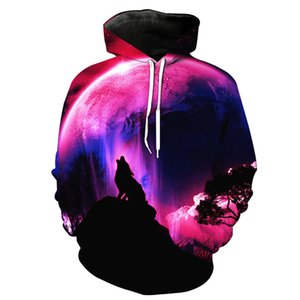 BIAOLUN mode Espace Galaxy 3D Hoodie loup lumineux Imprimer Sweat-shirts hommes unisexe pulls avec capuche animal Tops 3D 201008