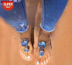Lager حجم النساء صندل الصندل انفجار الماس المرأة الصنادل الإناث النعال الكريستال جيلي الأحذية شقة مع أحذية الشاطئ الأزياء # JB0O