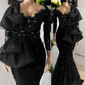 Robes de bal à manches longues à manches longues 2021 Perles Dentelle Robe de soirée noire avec Bow Celebrity Sukienki Fête Robes Vestido de Fiesta