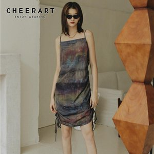 CHEERART Tie Dye Vintage Robe Femmes Drawstring Backless Spaghetti Strap Slip Robe 2020 Summer Fashion Designer
