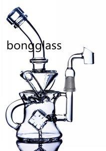 사각형 PERC 재활용 봉 howerhead 디퓨저 비커베이스 DAB 장비 유리 물 봉 금연 액세서리 14mm 조인트와 물 담뱃대 Shisha