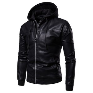 Freeship Mens à capuche PU veste / mode W1227