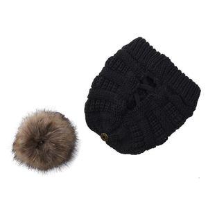 Removable Pom Pom Beanies Cross Ponytail Beanies Winter Warm Knitted Headward Wool Hat Women Ski Skull Caps Festive Party Hats OWF2343