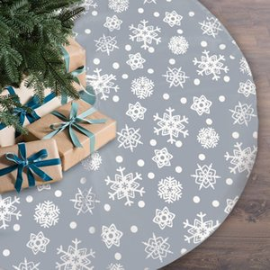 Snowflake Christmas Tree Skirts Non-woven Fabric Home Festival Floor Decor Large Size Xmas Decorations For Living Room Garden
