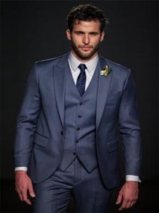 New Bespoke Mens Tuxedos 3 Pieces Jacket+Pants+Vest Wedding Party Formal Suits