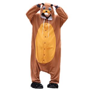 New Animal Beaver Sleepwear Sleepwear Sleepsuit Pigiama Costume Cosplay Adulto Unisex