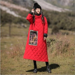 2020 winter ethnic style women's cotton-padded Long jacket casual hedging phoenix embroidery long coat loose cotton Robe dress