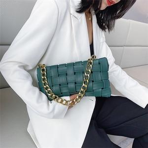 Weave Design PU Leather Crossbody Bags For Women 2020 Luxury Solid Color Shoulder Handbags Chain Cross Body Bag baguette b Q1104