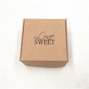 Kraft Paper Love Sweet Gift Storage Package Boxes 50pcs 6.5*6.5*3cm Brown Soap Packing Craft Boxes for Wedding Favors