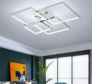 Square Modern led ceiling lights for living room bedroom study room Gold Chrome Plated 90-260V Ceiling Lamp Fixtures
