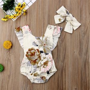 아기 romper jumpsuits 꽃 프린트 백리스 민소매 ruffled 소녀 romper + 머리띠 2pcs 세트 INS 유아 Bodysuit 키즈 의류 새로운 592 K2