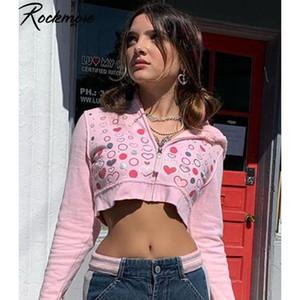 Coração Rockmore Impresso Cropped Sweet Hoodies Y2K Aesthetic 90s Vintage Zip Up Suéter Curto Casacos Curtos Cabelos Básicos Casuais Básicos