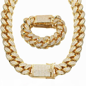 20mm Heavy Cubic Zirconia Miami Cuban Chain Bracelet Necklace Set Gold Silver Rosegold Men Hip hop Jewelry