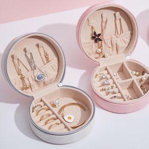 Rotonda dei monili Storage Box PU Leather Portable gioielli scatole anello della collana dell'orecchino di imballaggio di caso di esposizione di favore di partito LSK1753