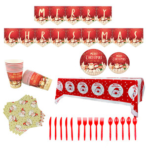 Christmas Decorations Theme Party Supplies Santa Claus Pattern Paper Cups Paper Plates Tablecloths Pull Flag Balloon Decoration Set BWA1578